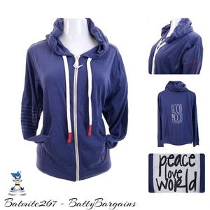 XL NEW Peace Love World HEART hoodie zip up Comfy
